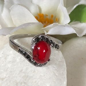 Jewelry - 🛍RED TURQUOISE AND BLACK SPINEL RING🌸✨